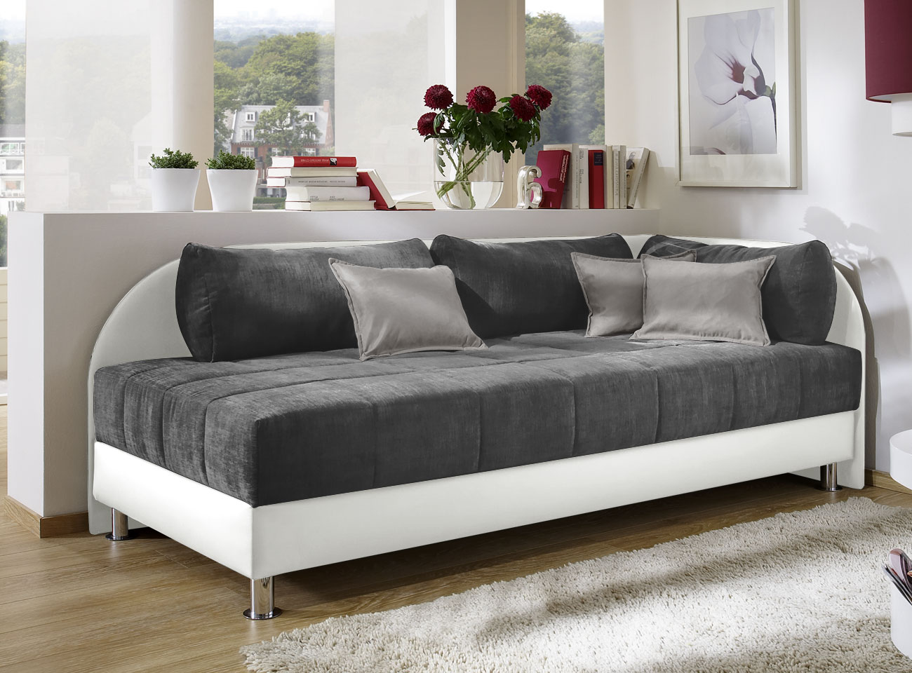 schlafsofa mit bettkasten wei. Black Bedroom Furniture Sets. Home Design Ideas