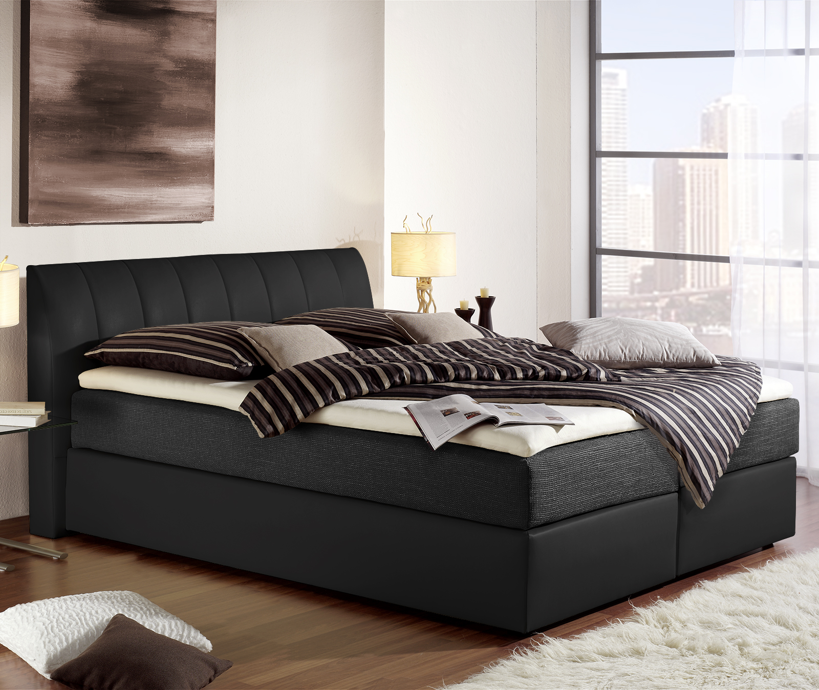bett mit spring box und kunstlederbezug boxspringbett sydney. Black Bedroom Furniture Sets. Home Design Ideas