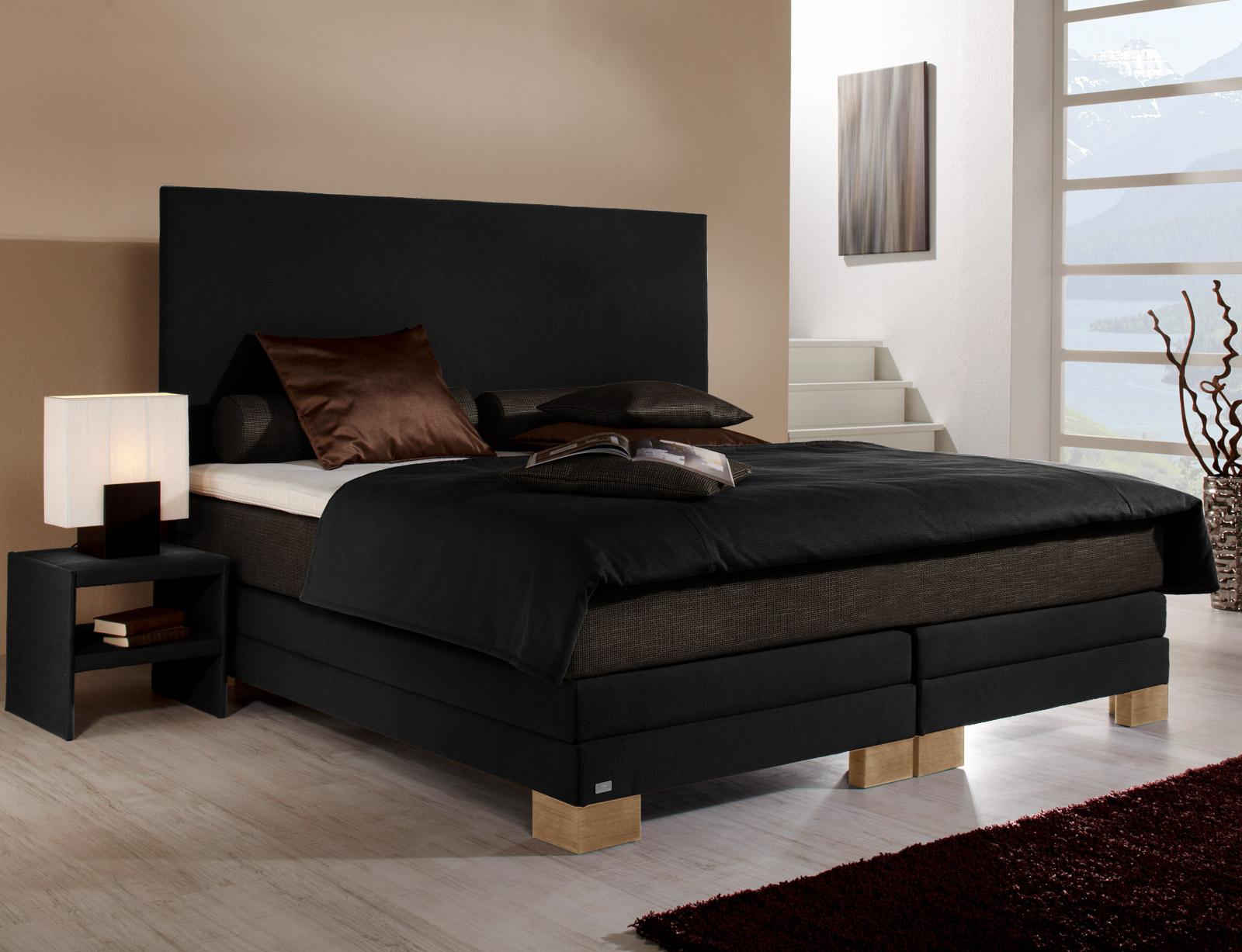boxspringbett teneriffa in braun mit hohem kopfteil. Black Bedroom Furniture Sets. Home Design Ideas