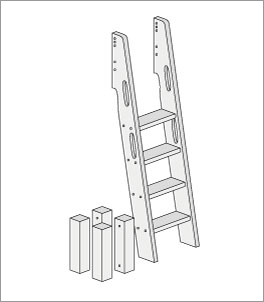 Umbau zum Etagenbett mit schr?ger Leiter