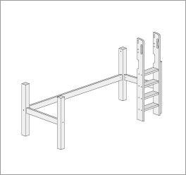 Grafik f?r den Umbau zum Midi-Hochbett mit gerader Leiter
