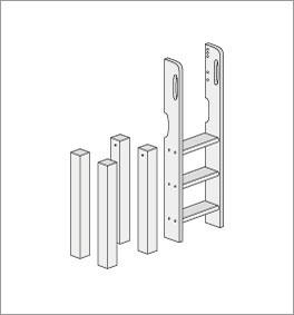 Grafik f?r den Umbau zum Mini-Hochbett mit gerader Leiter
