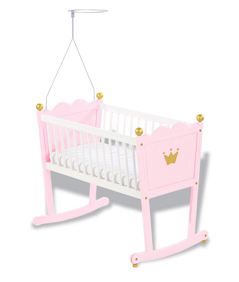 Babywiege weiß und rosa lasiert - Prinzessin Karolin