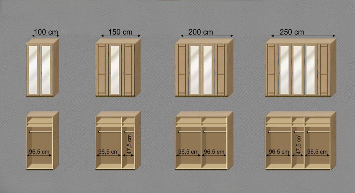 Maßgrafik zur Inneneinteilung des Drehtüren-Kleiderschranks Trikomo