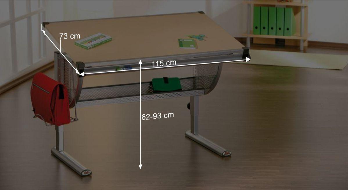 Schreibtisch Nicos Bemaßungsgrafik