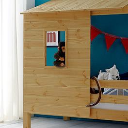 Abenteuer-Kinderbett Kids Paradise inklusive Verkleidung mit Fenster