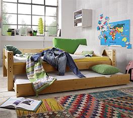 Stabiles Ausziehbett Kids Dreams mit 2 Schlafplätzen in gelaugt/geölt