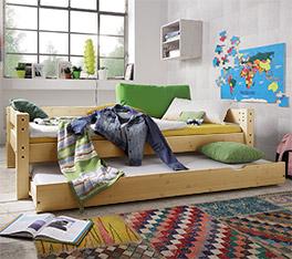 Stabiles Ausziehbett Kids Dreams mit 2 Schlafplätzen natur