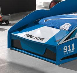 Autobett Blue Light Polizei Aufdruck
