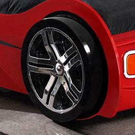 Autobett Drift rot mit Alufelgen-Nachbildung