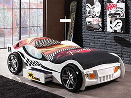 Modernes Autobett Drift weiß mit Rennauto Design