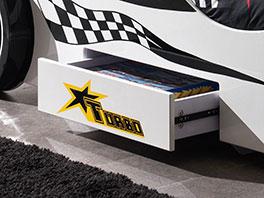 Autobett Drift weiß mit praktischem Stauraum
