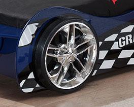 Autobett Hero blau mit Reifen als Füße