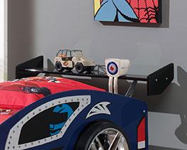 Autobett Hero blau mit Heck-Spoiler als Nachttisch
