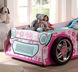Autobett Little Lady mit Rädern aus Kunststoff