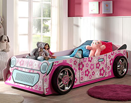 Autobett Little Lady aus rosa lackiertem MDF