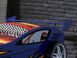 Autobett Spirit blau mit großer Ablagefläche
