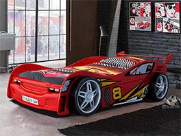Autobett Spirit rot in 90x200 cm mit Rennwagen-Optik