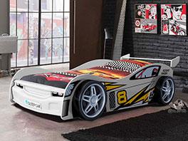 Autobett Spirit weiß mit Rennwagen Design