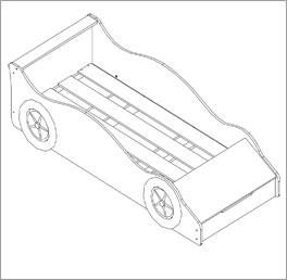 Autobett mit Stauraumfach inklusive Rolllattenrost mit Längsstreben