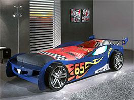 Autobett Tuning blau mit Rennwagen-Optik
