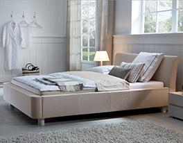 Schickes Design Bett Andorra Holz/Stoff sand