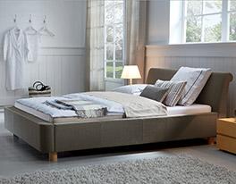 Schickes Design Bett Andorra Holz/Stoff sierra