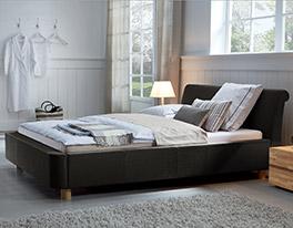 Bett Andorra in schickem Design Stoff/Holz Tabak