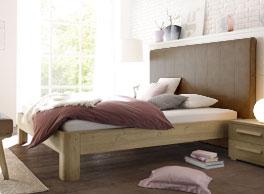 Bett Banco mit Holz-Kunstleder-Mix
