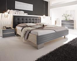 Bett Bari in Akazie grau und schwarz