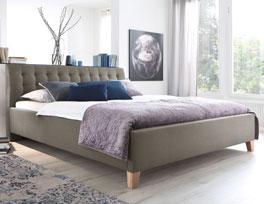 Bett Batana mit Bezug aus meliertem Webstoff