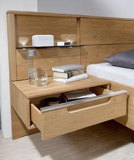 Bett Fria inklusive Rauchglasboden und Schubladen mit Selbsteinzug