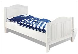 Bett Nina aus massiver Fichte in Weiß