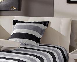 Bett Remigio mit weißem Lederkopfteil