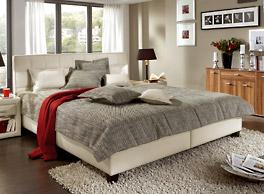 Bett Sansone in creme Strukturstoff