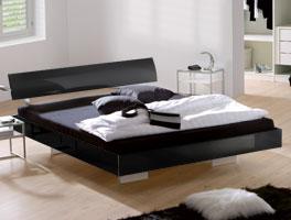 Schwarzes Bett Timeless mit Kopfteil