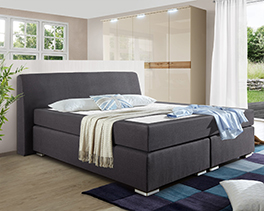 Modernes Boxspringbett Roseberry in anthrazitfarbenem Webstoff