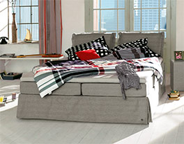 Boxspringbett Tom Tailor Cushion in elegantem beigebraun