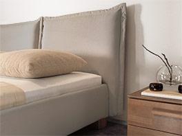 Doppelbett mit großem Kopfteil aus Leinen Alvaro