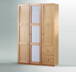 Drehtüren-Kleiderschrank Mira mit Glas- und Holzfront