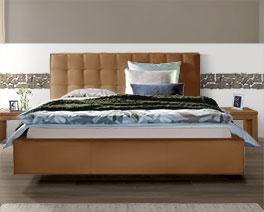 Echtleder-Bett Marim in Komfort-Höhe