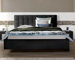 Stabiles Bett Marim aus hochwertigem Echtleder
