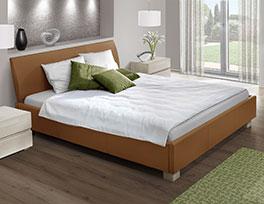 Stabiles Doppelbett Serpa mit Luxux-Echtleder