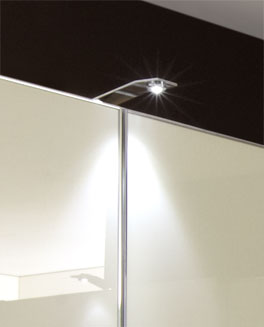 Eck-Kleiderschrank Banga optional mit eleganter Beleuchtung