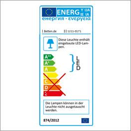 Energieverbrauchskennzeichnung der LED-Beleuchtung Dabola über dem Glasboden