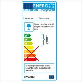 Energieverbrauchskennzeichnung für die LED-Lampe des Nachttisches Quebo