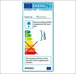 Energieverbrauchskennzeichnung für die beweglichen Bettleuchten Beyla