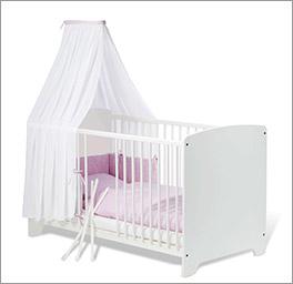 Gitterbett Jil aus Kiefer, weiß lackiert