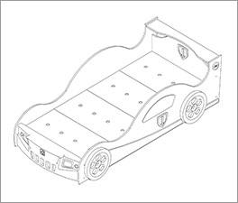 Grafik für die Matratzenauflage des Autobetts Speedfighter für Kinder