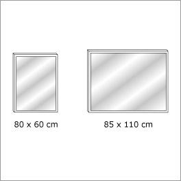 Grafik der wählbaren Wandspiegelgröße